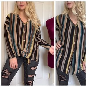 Tops - Multi colored striped button down knit knot top